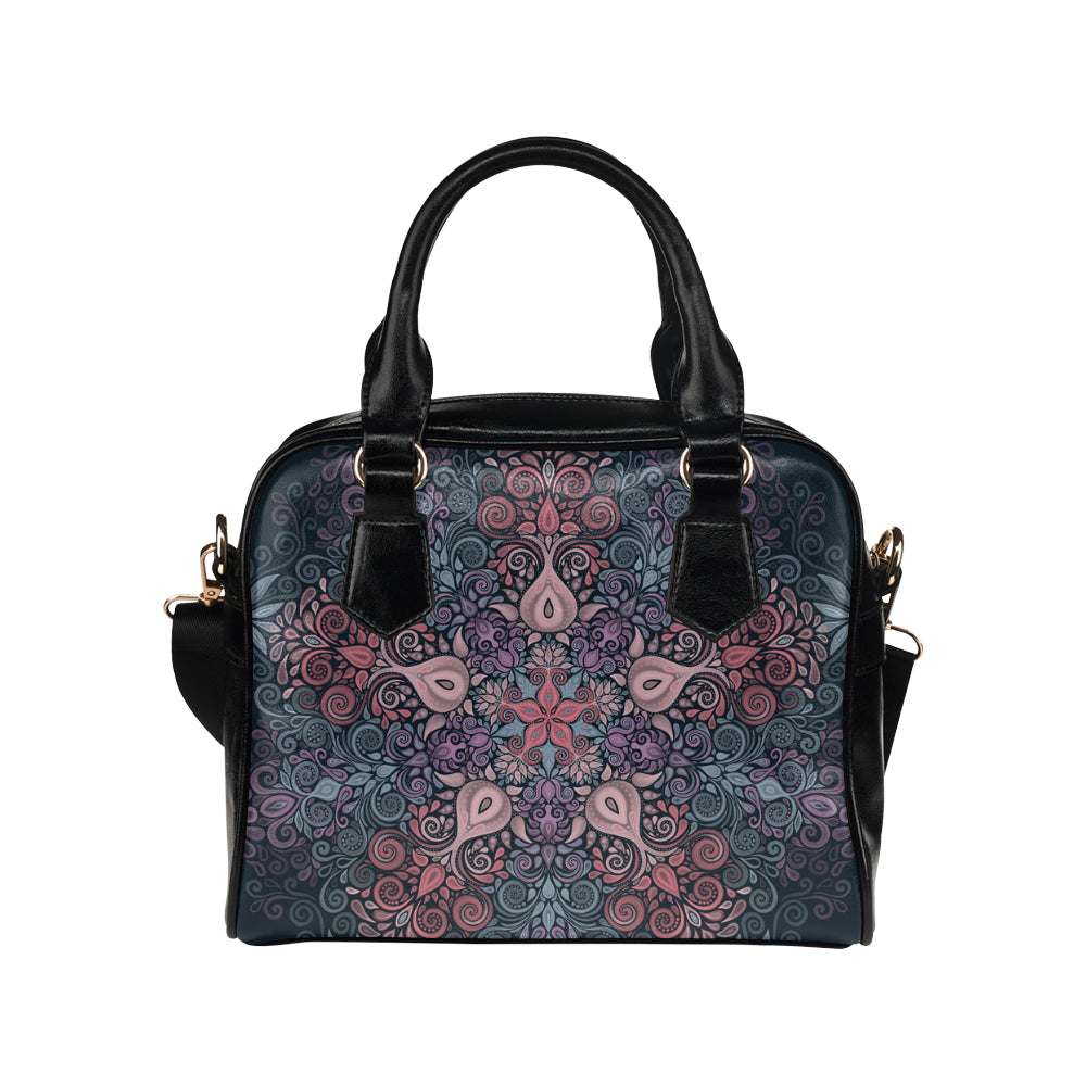Baroque Garden Watercolor Pastel Mandala Shoulder Handbag