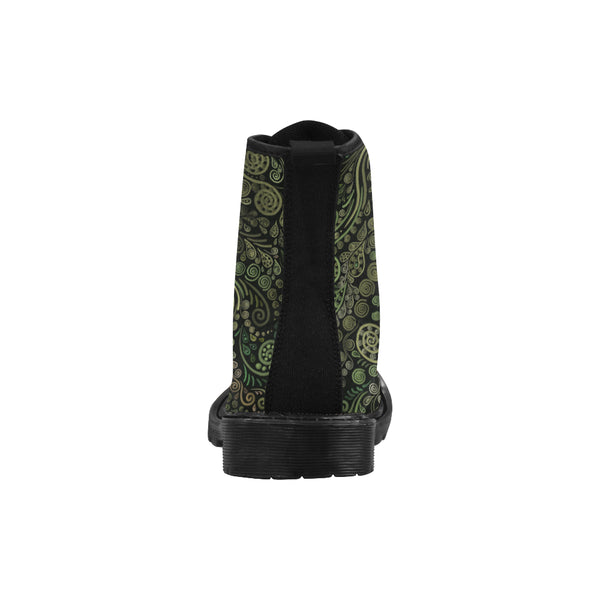 3D Psychedelic Green Fantasy Tree Martin Boots for Women - Black