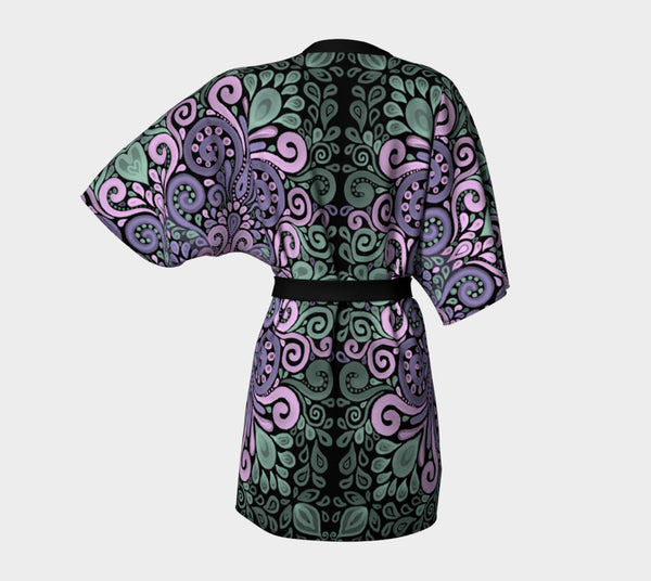 Ornate Watercolor Bohemian Pattern Purple Pink  Green Kimono Robe