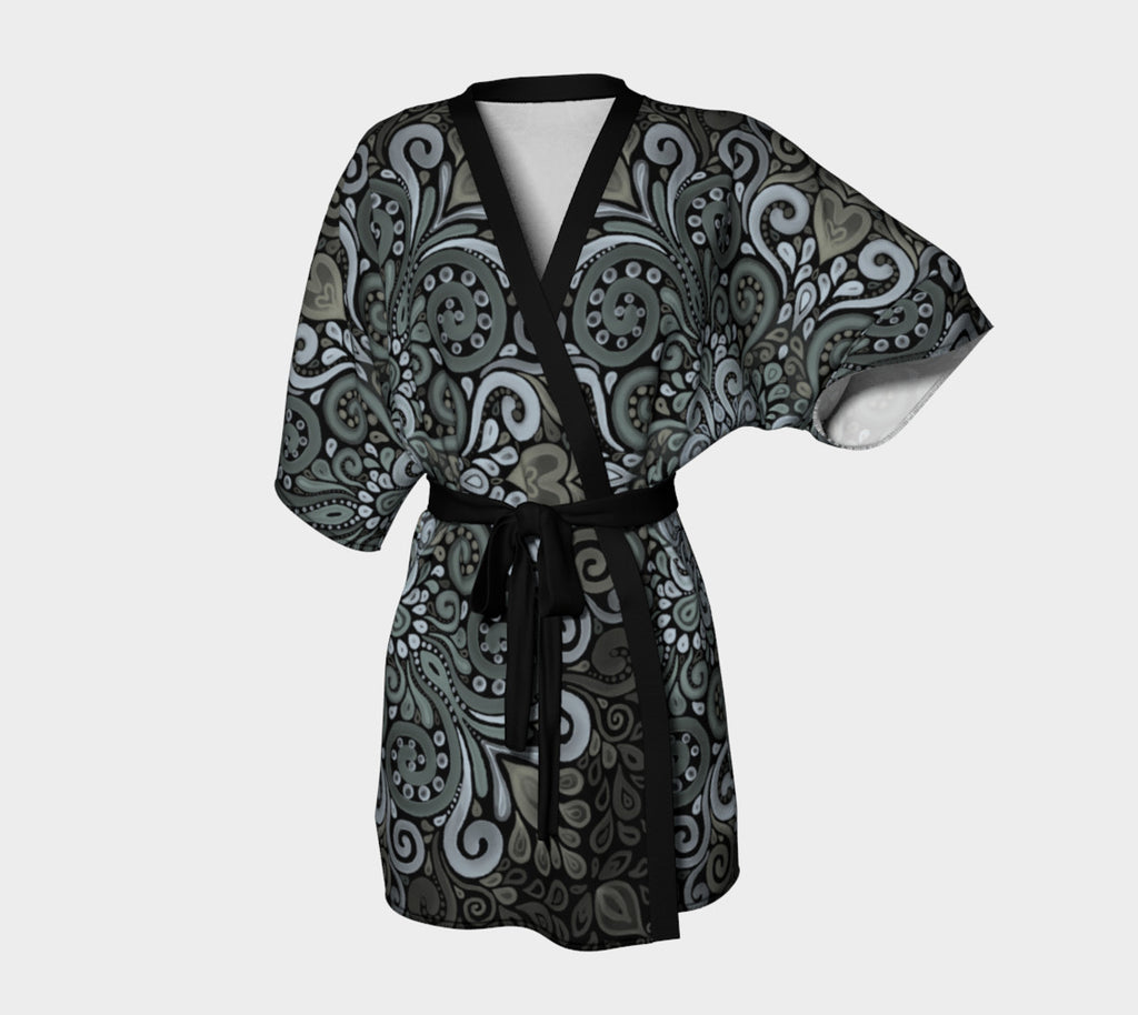 Ornate Watercolor Bohemian Pattern in Blue and Green Kimono Robe