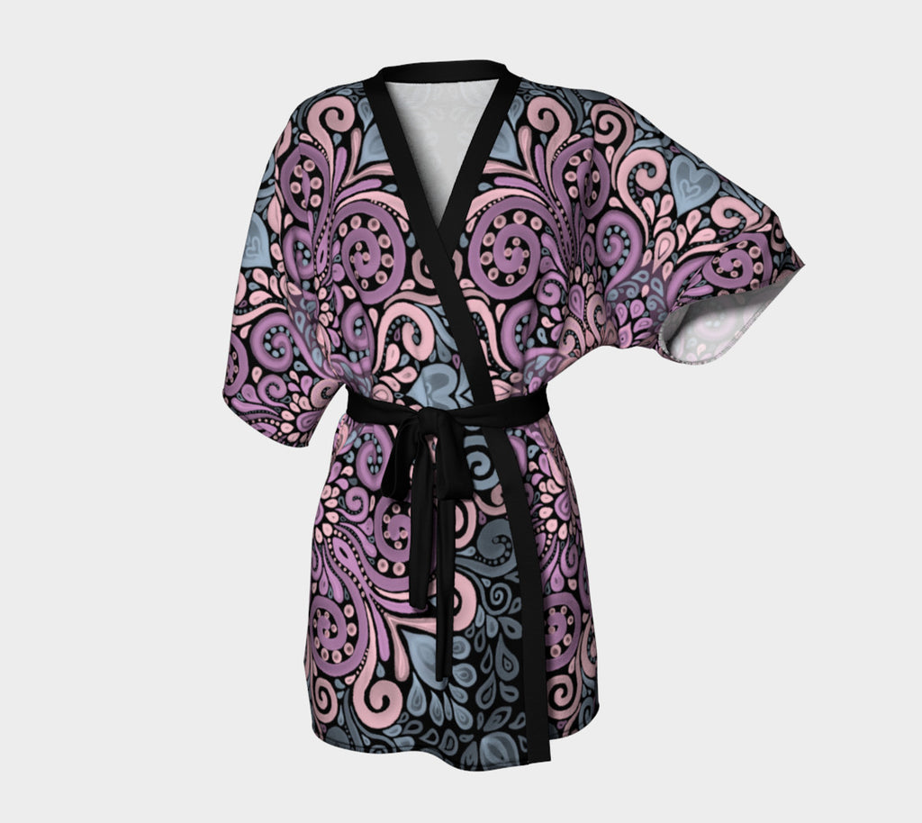 Boho Ornate Watercolor in Pink Purple and Blue Kimono Robe
