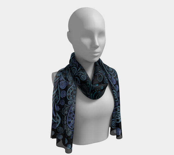3D Psychedelic Blue Long Scarf