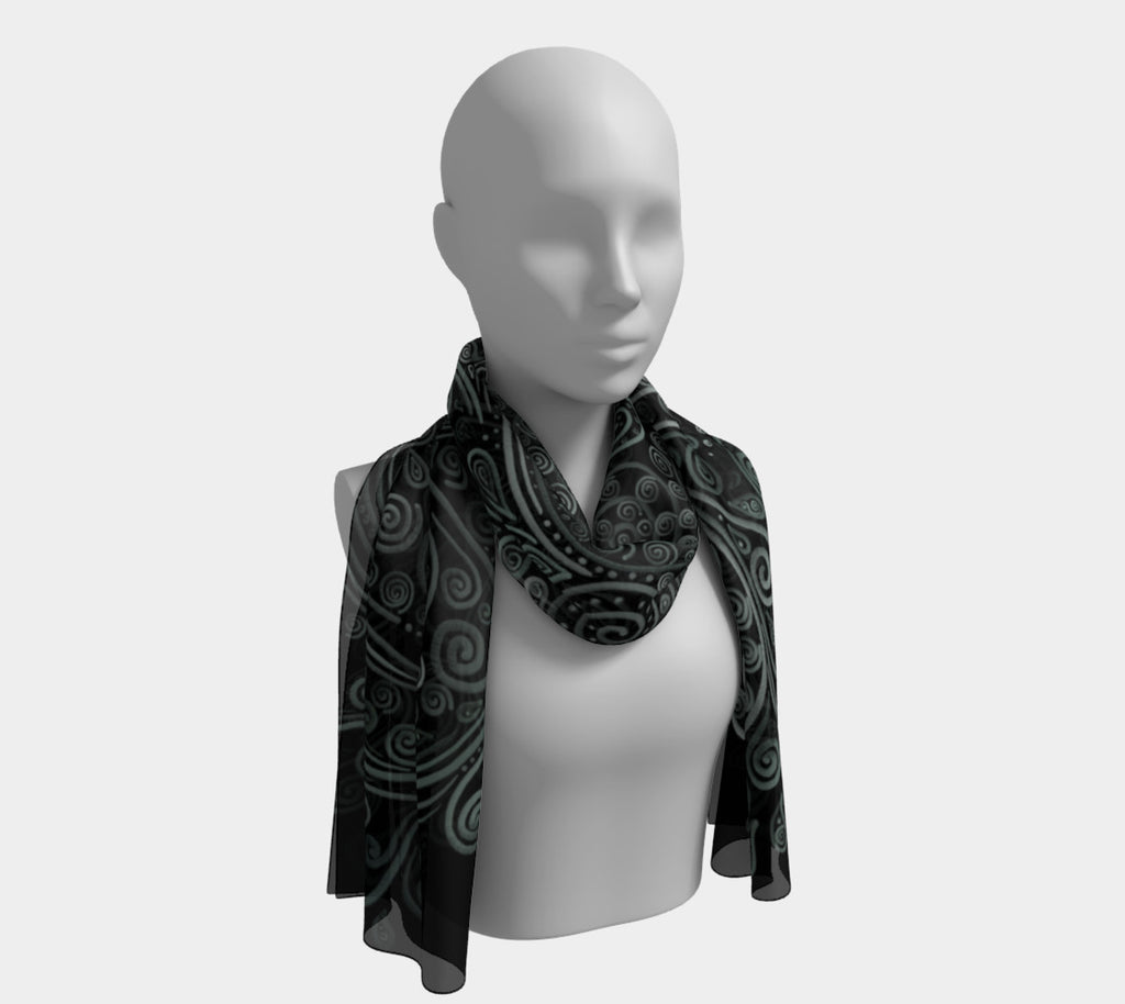 3D Psychedelic Soft Green Long Scarf