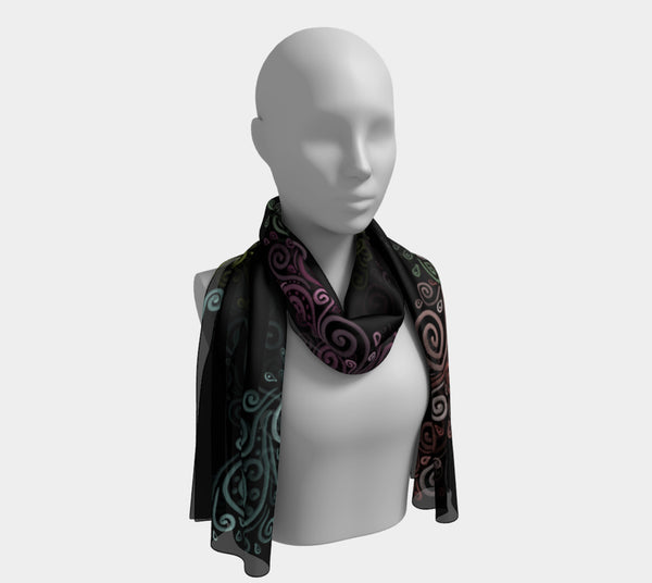 3D Abstract Floral Long Scarf
