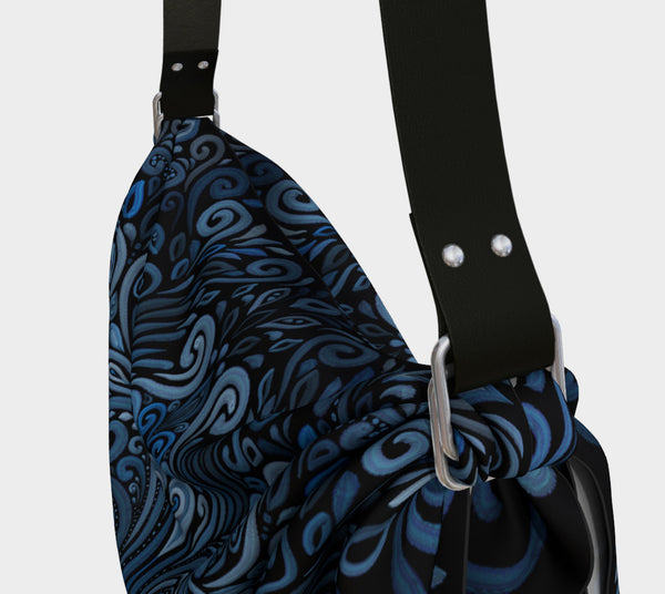 Blue Ornate Pattern with 3D effect Origami Tote