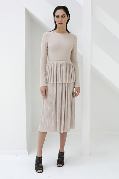 Nude Pleated Midi Skirt with a Peplum Detail