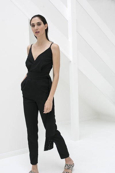 Black Crepe Jumpsuit with a Fringed Belt