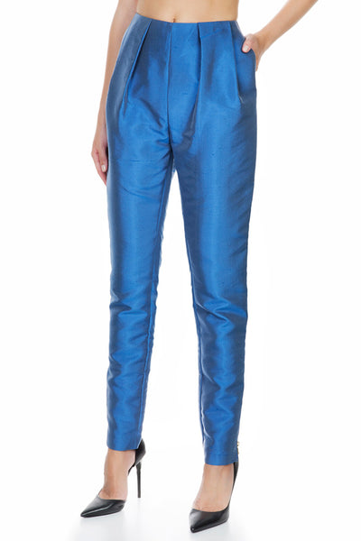 Denim Effect Shantoung Pleated Trousers