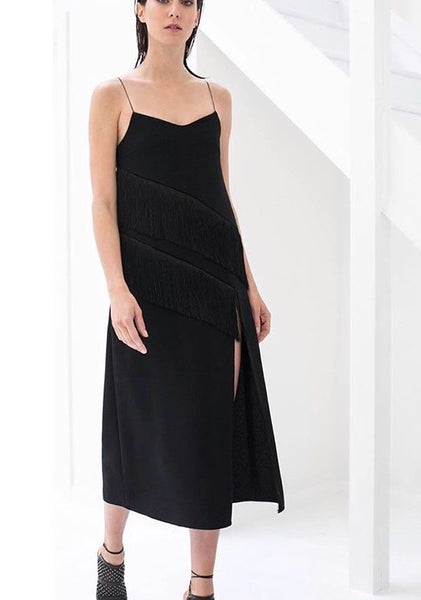 Cocktail Fringe Dress with a High Slit
