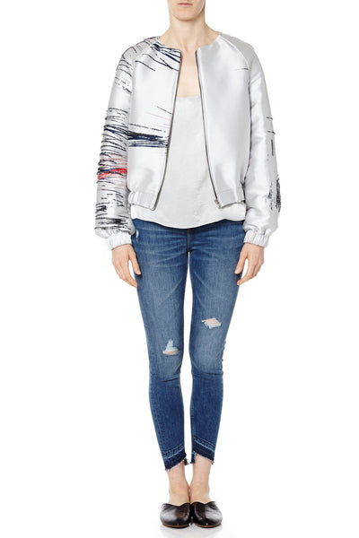 Embroidered Minimal Print Bomber Jacket