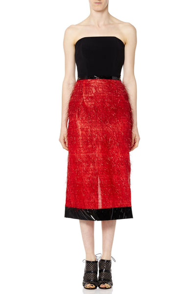 Red Pencil Skirt with Black Vinyl Detail