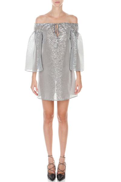 Metallic Sheer Off Shoulder Beach Tunic
