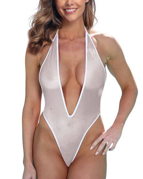 High Cut Sheer Plunging V-Front Monokini Thong Swimsuit