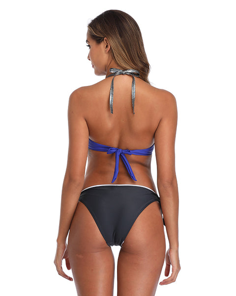 Halter Bikini Set with Triangle Top and Side Tie Bottom