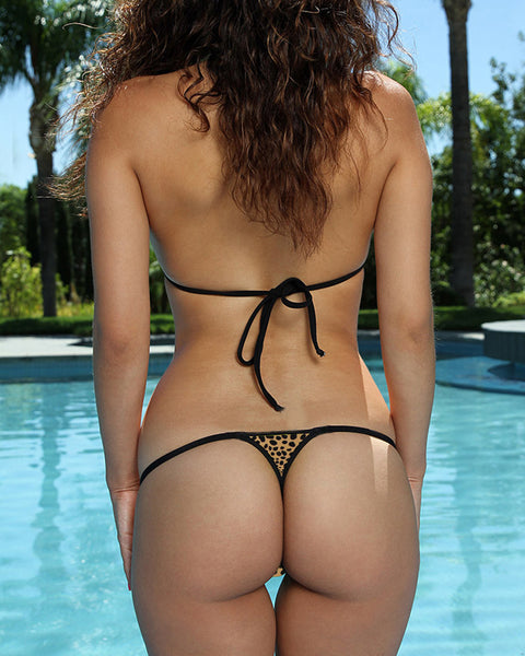 Leopard Print Micro Bikini Set G-String Thong Bottom