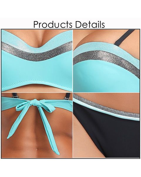 Sexy Turquoise Bandeau Bikini Swimsuits for Women