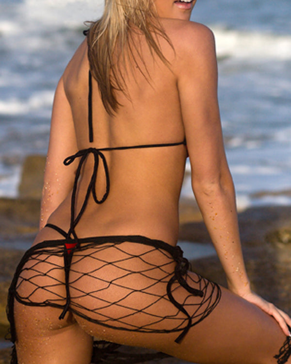 Extreme Black Red Micro Bikini Set G-String Thong Bottom