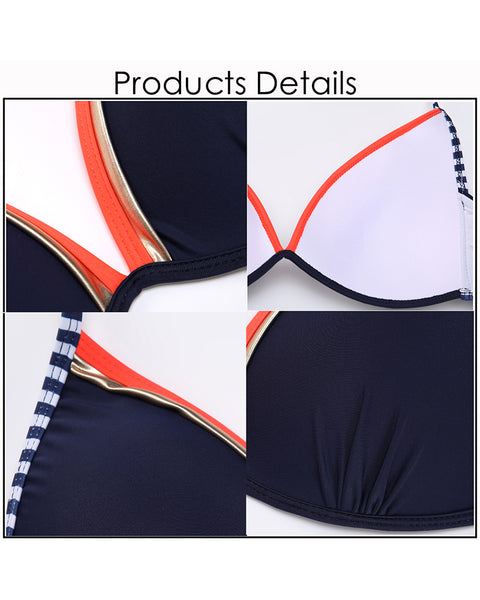 Striped Halter Bikini for Women Side Tied Sexy Swimsuit