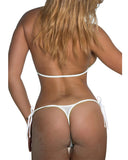 White Fishnet Bikini Wrap Top G String Bottom