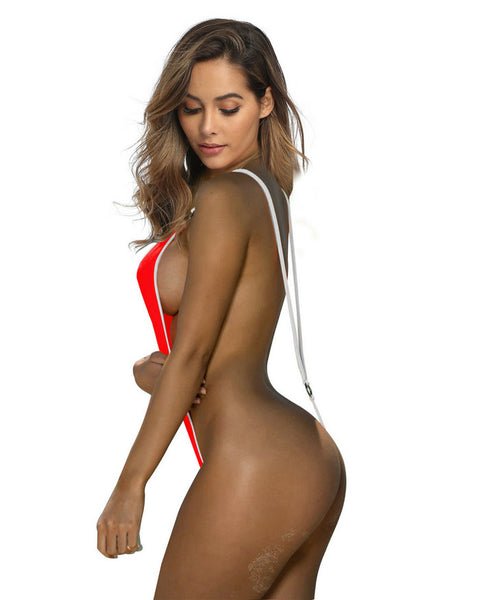 Sexy Red and White Micro Sling Monokini Slingshot Bikini
