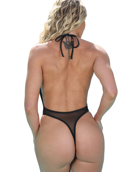 High Cut Bodysuit Sheer Plunging V-Front Monokini Thong Swimsuit for Women