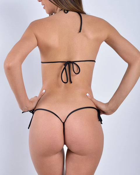 Black Very Sexy Micro Bikini Side Tied G String Thong
