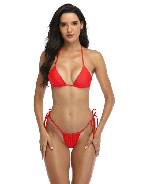 Thongs Bikini In Red Brazilian Thongs Bottom Triangle Tops