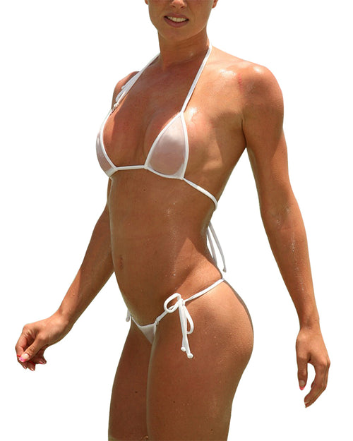 White Sheer Bikini See Through G string Micro Bikinis