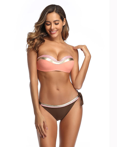 Coral Swimsuits Bikini Bandeau Top Side Tie Bottom