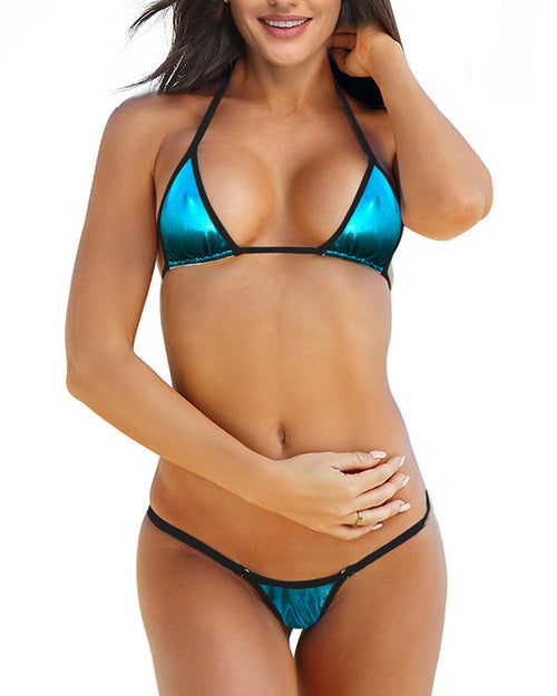 Foil Blue Micro Bikini Set Mini Bathing Suits With G String Thong Bottom