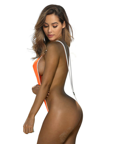Orange and White Sling Bikini for Women Sexy Slingshot