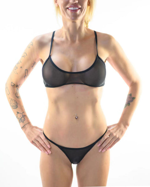 Black See Through Bikini Sheer Swimsuit Transparent Bathing Suit