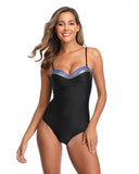 Black Bandeau One Piece Bathing Suits for Women