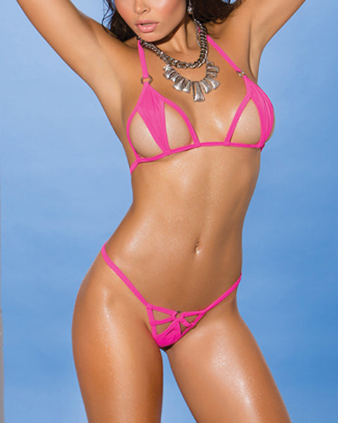 Pink Cut-Out Micro G String Bikini Extreme Swim Costume