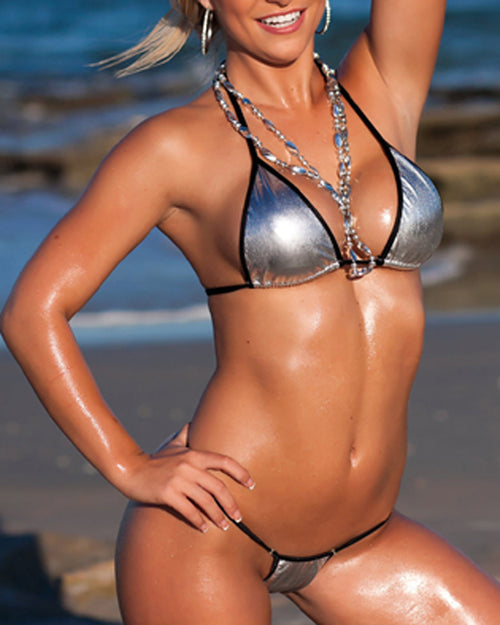 Foil Silver Micro Bikini Set Sexy Mini Swimwear G-String Thong Bottom