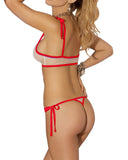 Sheer Mesh G-string Thong Bikini See Through Tanga Tie Thong Bikinis Set