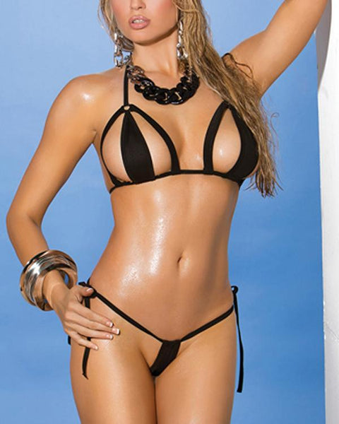 Black Side Tie String Thong Micro Bikini Set