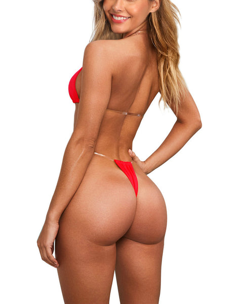 Red Transparent Straps Bikini Thong Swimsuit for Women