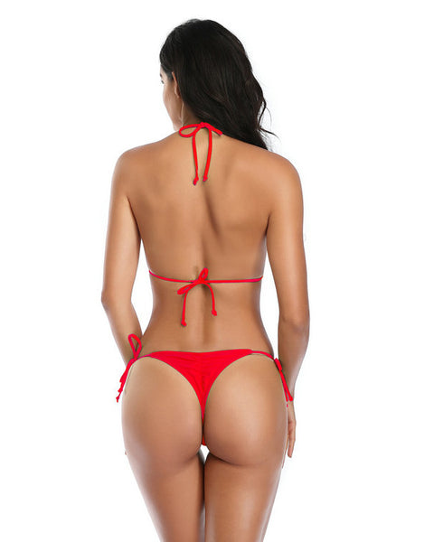 Sexy Red Scrunch Butt Thong Bikini