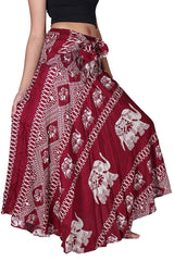 Bangkokpants Women's Long Bohemian Hippie Skirt Boho Dresses Elephant One Size Asymmetric Hem Design