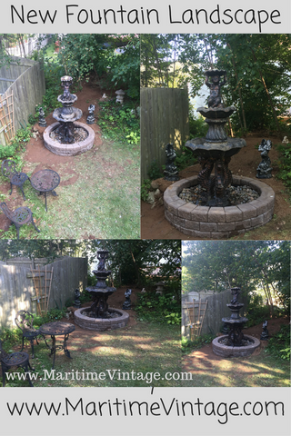 Salvaged Victorian Tiered Fountain Landscape Design Project www.MaritimeVintage.com