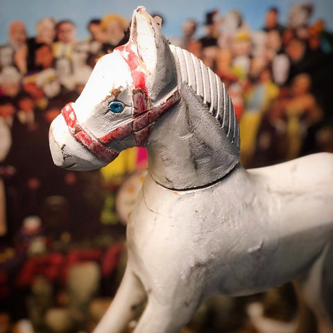 shabby chic horse accented with Sargent peppers lonely hearts club band www.MaritimeVintage.com