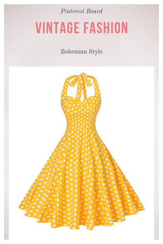 Rockabilly 50s Vintage Polka Dots Halter Cocktail Swing Dress