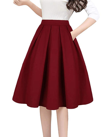 Vintage A-line Printed Pleated Flared Midi Skirts with Pockets