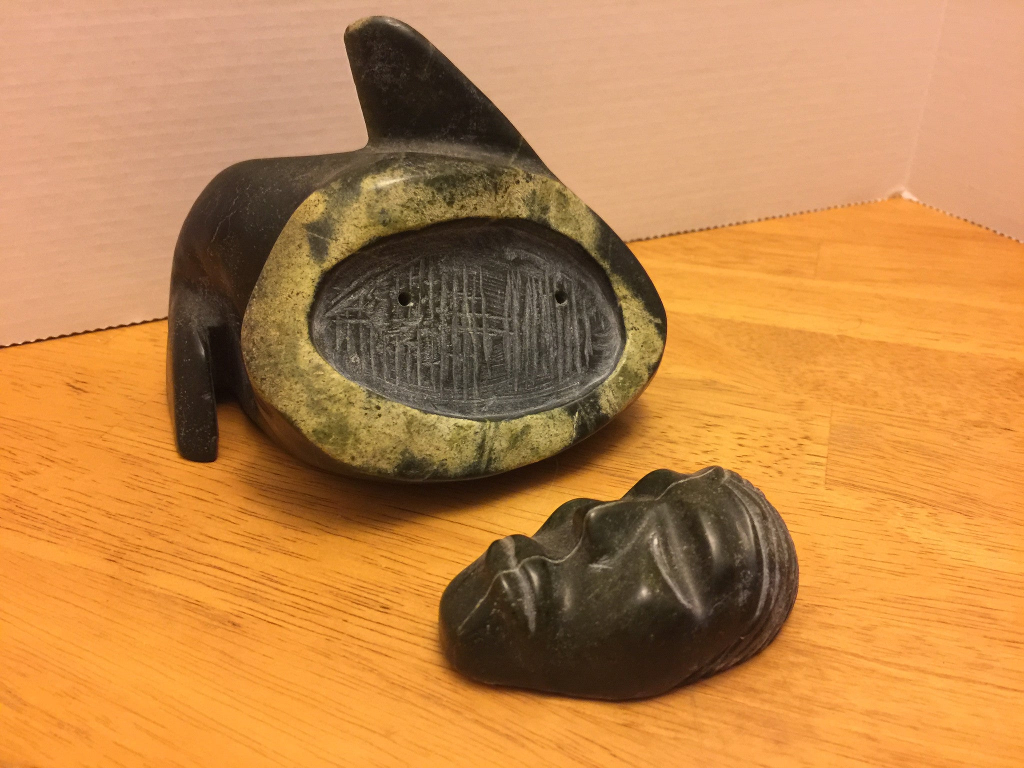 Elias Semigak - Sedna's Reflection - July 2005 Inuit First Nation Soapstone Carving - Maritime Vintage