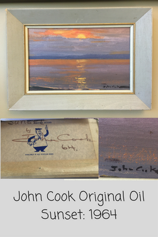 John Cook Original Oil Painting:  1964 Sunset - Maritime Vintage