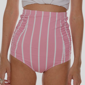 Pink Striped Ruched Swim Bottoms