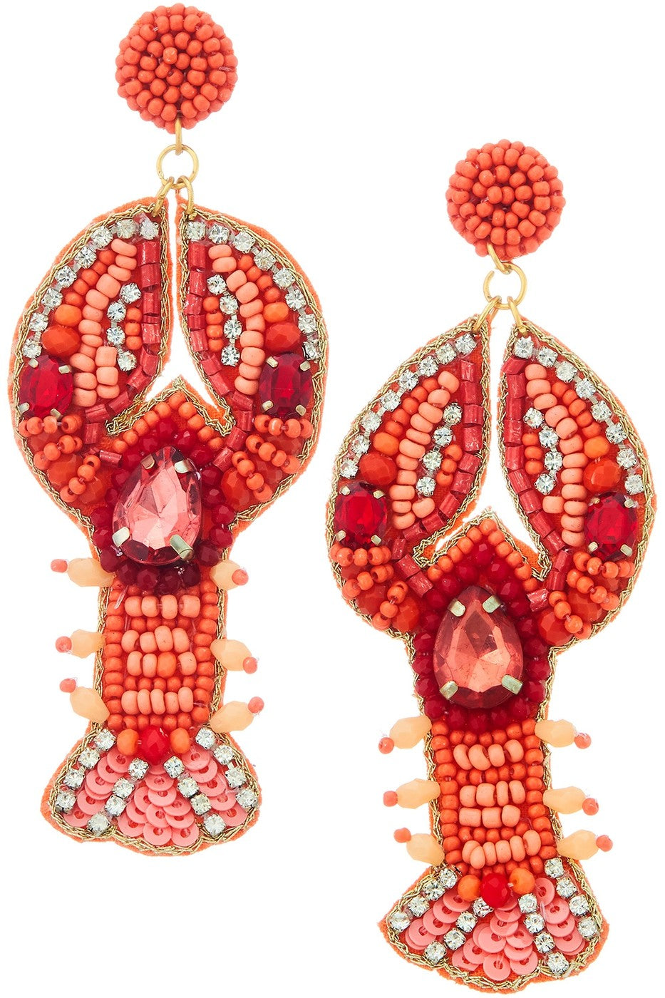 Beaded Lobster Earrings-Corral
