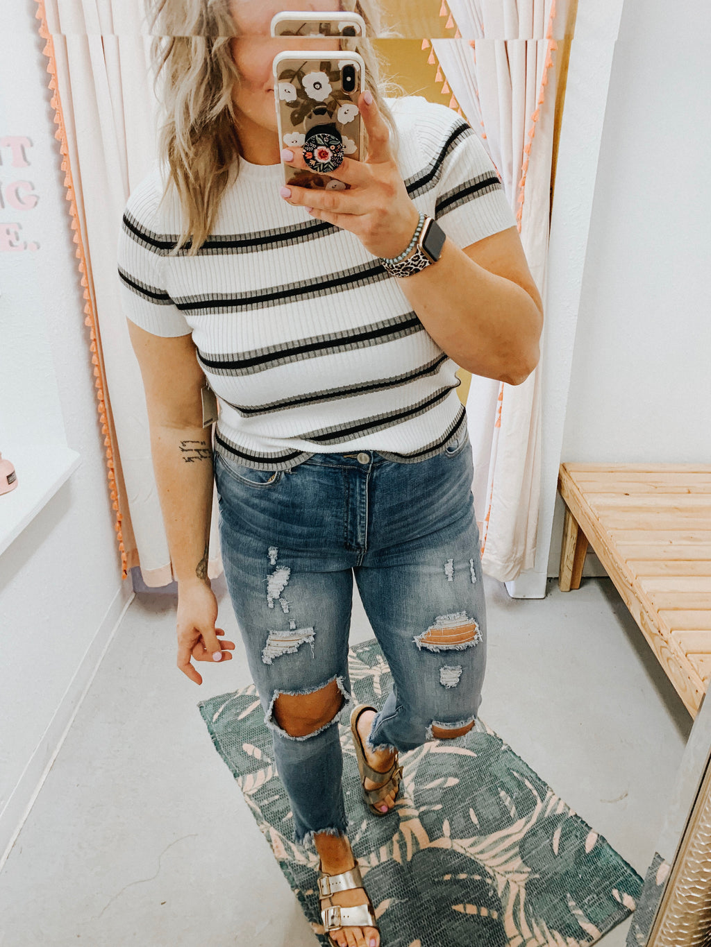 Sofia Striped Mom Crop Grey