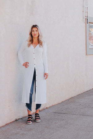 Ivory Button Down Duster